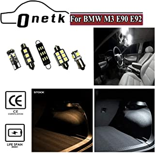 ONETK LED Master Interior Lighting Kit with 15w Back Up Reverse light bulbs fits for BMW M3 E90 E92 2007-Later,with Trim Removal Tool