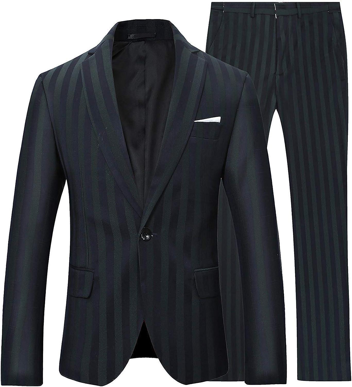 Boyland Men's 2 Pieces Suit Notch Lapel Pinstripe Suits One Button Navy Black Jacket Trousers Formalwear Business Wedding