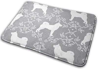 """Akita Silhouette Florals Dog Pattern Grey_23576 Doormat Entrance Mat Floor Mat Rug Indoor/Outdoor/Front Door/Bathroom Mats Rubber Non Slip 23.6"""" X 15.8"""""""
