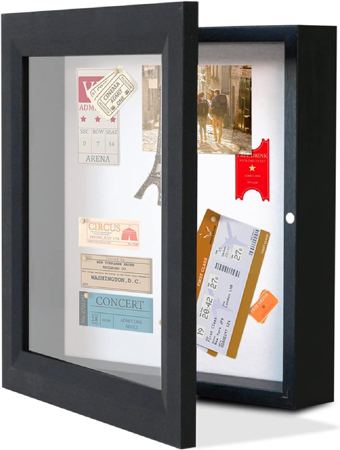 Muzilife 10x10 Shadow Box Picture Frame - Black Deep Wood  Glas