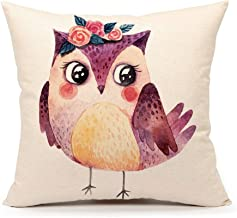 4TH Emotion Owl Throw Pillow Case Cushion Cover Nursery Lovely Animal Decorative for Sofa Couch 18 x 18 Inch Cotton Linen