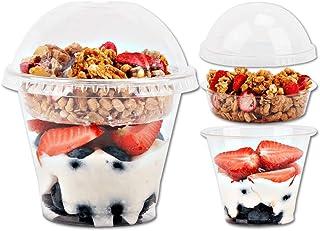 9oz Clear Plastic Parfait Cups with Insert 3.25oz & Dome Lids No Hole - (20 Sets) Yogurt Fruit Parfait Cups for Kids, for ...