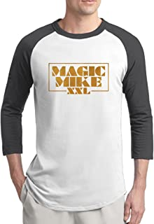 Men's Magic Mike XXL Logo Cotton Raglan 3/4 Sleeve T-Shirt