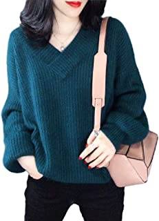 Winwinyou Womens Casual Casual Knitted Jumper V-Neck Pullover Sweater Tops