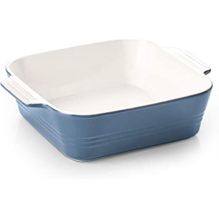 ZONESUM Ceramic Baking Dish, 8x8 Baking Dish, Square Baking Cake Pan, Ceramic Bakeware with Double Handle, for Brownie, Cake, Lasagna, Casserole, Roasted Meat, Ideal Choice for Mother's day, Airy Blue