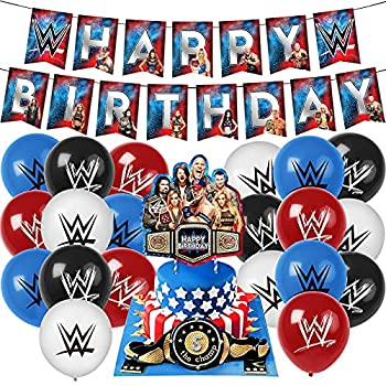WWE party supplies birthday,wwe birthday party decorations Set includes wwe birthday banner ,cake topper,balloons wrestling party supplies for wwe theme party decorations