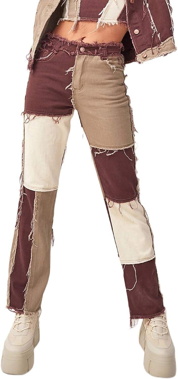 N/ D Women's Patchwork Pants Hight Waist Distressed Straight Wide Leg Denim Jeans Fashion Pencil Trousers