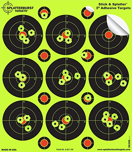 Splatterburst Targets - 3 inch Adhesive Stick & Splatter Reactive Shooting Targets - Gun - Rifle - Pistol - Airsoft - BB Gun - Pellet Gun - Air Rifle (25 Pack)