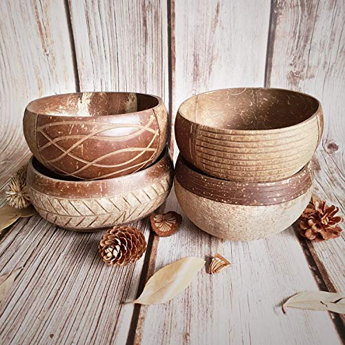 Rainforest Bowls 4 Earth & Sand Art Coconut Bowls - Artisan-Made - All-Natu