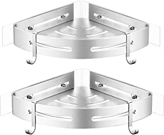 Orimade Corner Shower Caddy Shelf with Hooks Wall Mounted for Kitchen Bathroom Toilet Organizer Storage Adhesive No Drilling Aluminum - 2 Pack