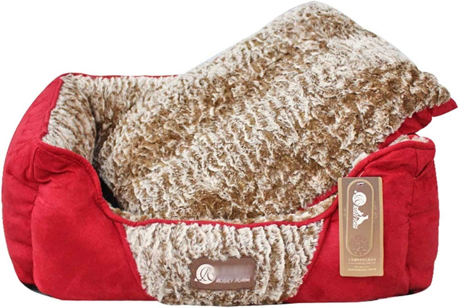 KYCD Dog Lounge Dog Bed Basket Cushion With Separable Liner Winter Warm Soft Comfortable Washable Red For Medium Dogs