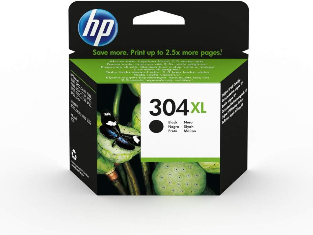 HP 304XL N9K08AE, Negro, Cartucho de Tinta de Alta Capacidad Original, compatible con impresoras de inyección de tinta HP DeskJet 2620, 2630, 3720, 3730, 3750, 3760, HP Envy 5010, 5020, 5030