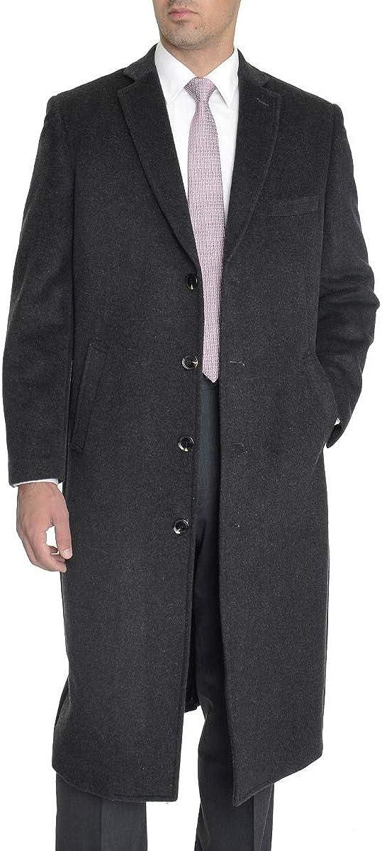 Men's Regular Fit Charcoal Gray Full Length Wool Cashmere Overcoat Top Coat