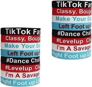 WOOACME 16PCS TIK TOK Theme Bracelet Silicone Bracelet, Based on 2020 Famous TIK TOK activities and Slogan, TIK TOK Party ...