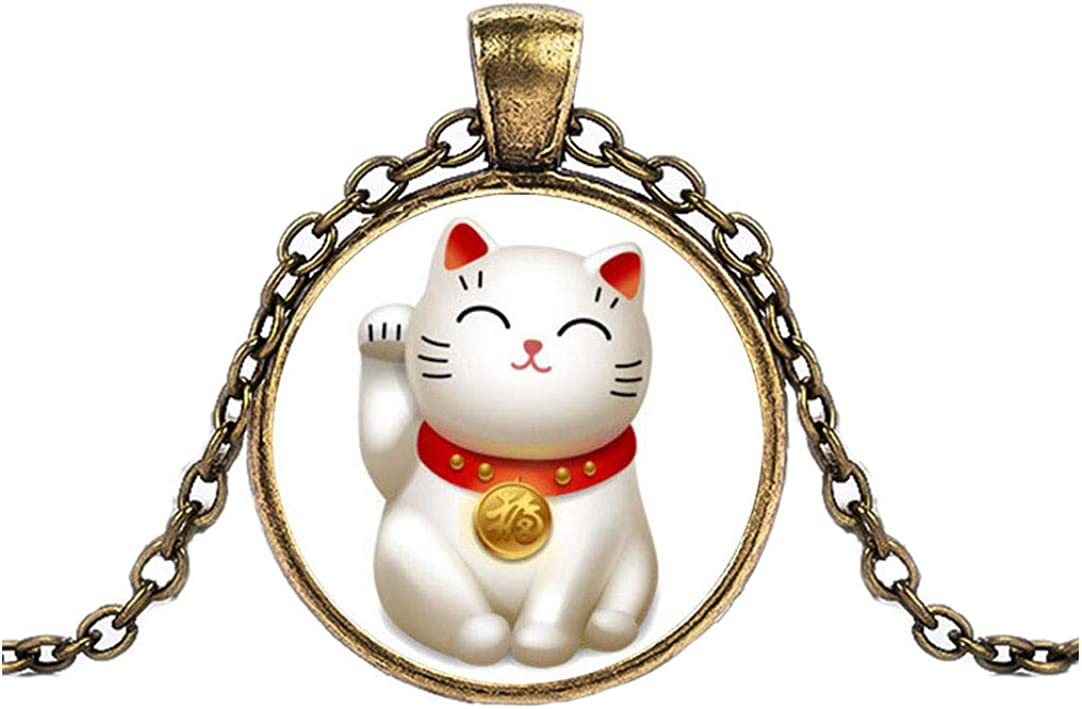 FOY-MALL Fashion Time Gem Lucky Cat Pendant Chain Necklace XL1569N