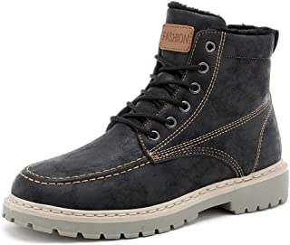 Sunny&Baby Men's Fashion Ankle Work Boot Casual Waterproof and Anti-Collision Toe Winter Faux Fleece Inside High Top Boot Durable (Color : Black, Size : 6 UK)