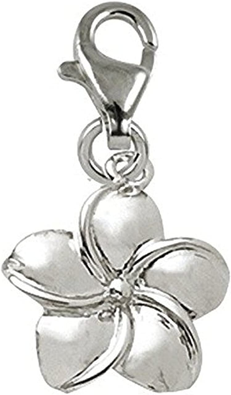 Plumeria Flower Charm with Lobster Claw Clasp, Charms for Bracelets and Necklaces