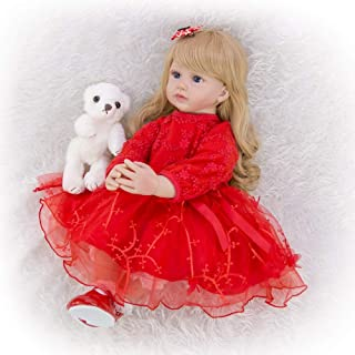 Realistic Baby Girl Doll, 24 Inch 60 cm Elegant Reborn Baby Soft Vinyl Cloth Body Princess Doll with Long Curly Hair Red D...