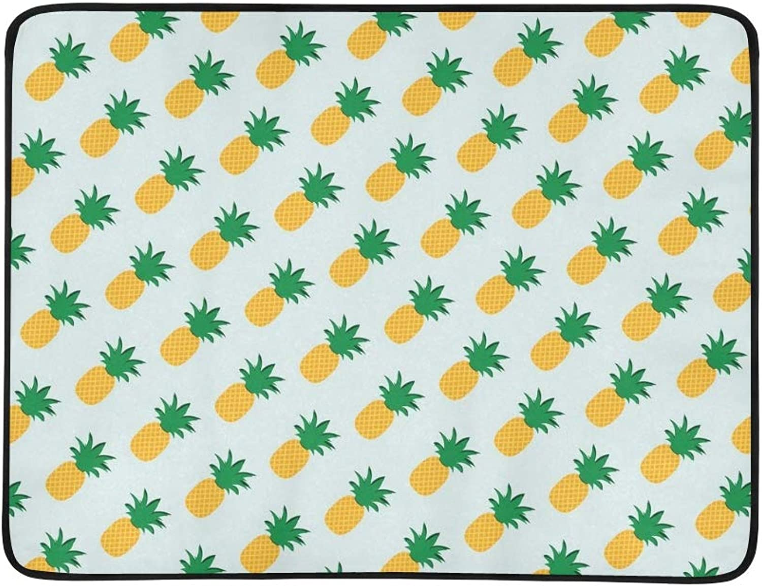 Pineapple Portable and Foldable Blanket Mat 60x78 Inch Handy Mat for Camping Picnic Beach Indoor Outdoor Travel