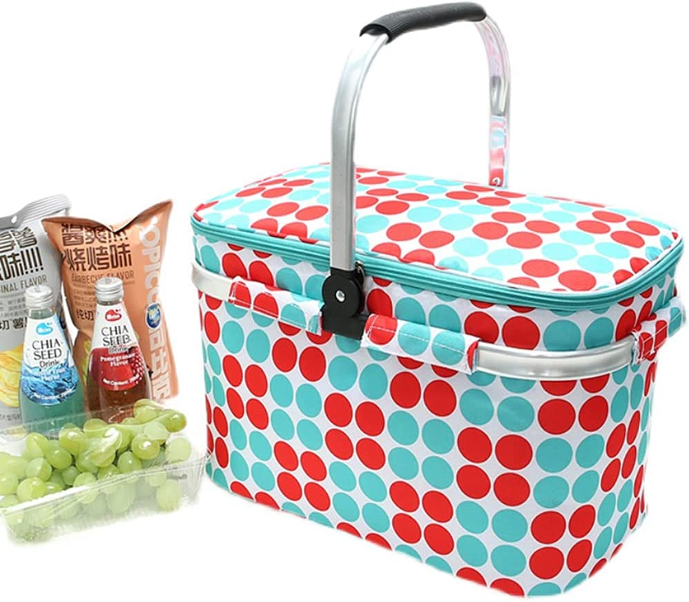 YXW Insulated Picnic Basket 25L Cooler Max 87% OFF Folding Ultra-Cheap Deals Portable Lunch B