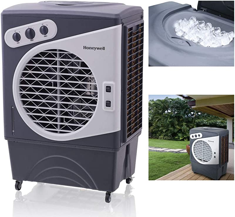 Honeywell 1540 2471 CFM Outdoor Portable Evaporative Cooler With Triple Sided Honeycomb Cooling Pad CO60PM Gray