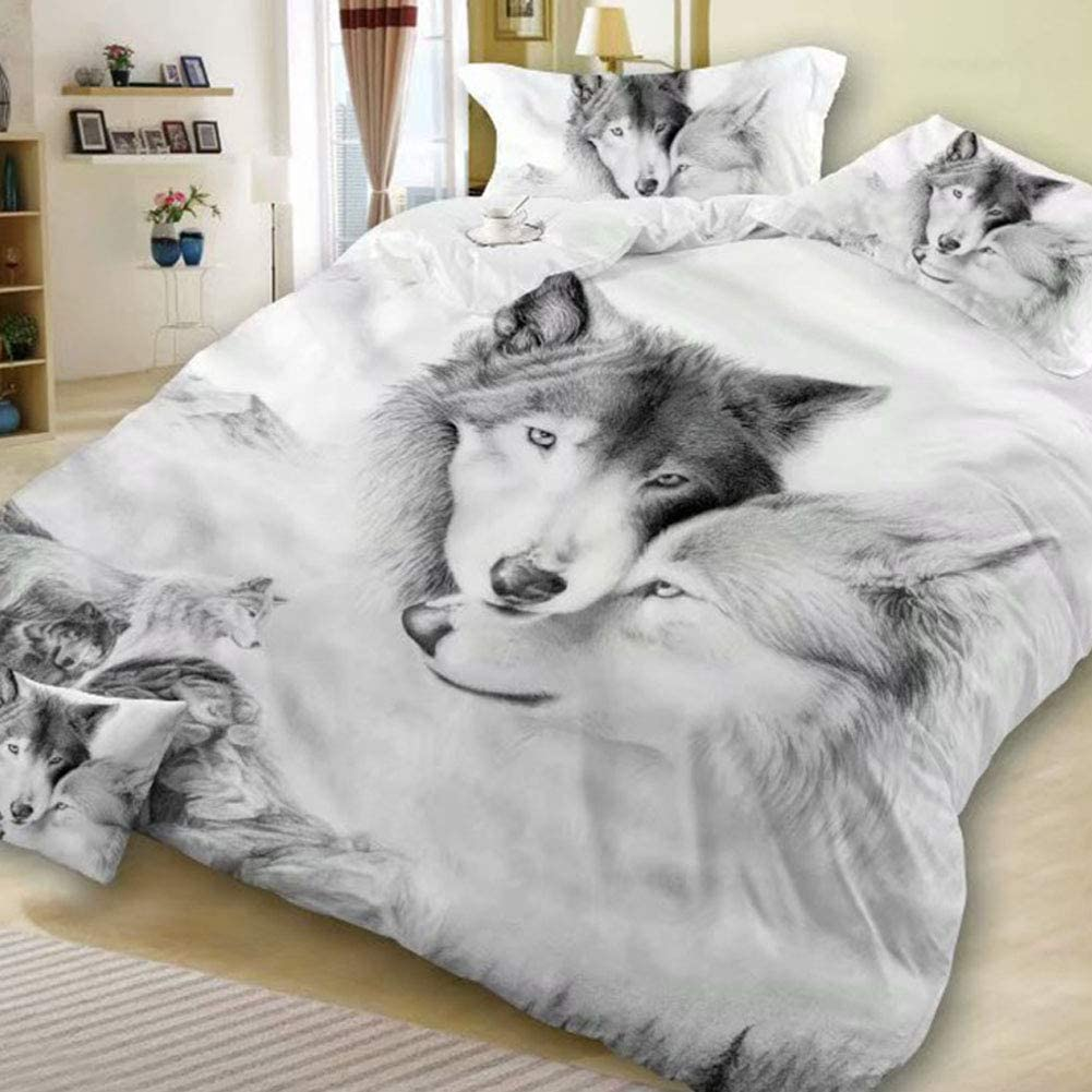 Ocamo 3D 好評 Printed Comforter Set Double Se Printing 売店 Wolf Theme Bed