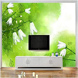Yxjj1 Mural 3D White Lily of The Valley Wallpaper for Walls 3D Art Green Fresh Wall Covering Living Room Home Decor TV Wall Customize 300cm (W) 200cm(H)