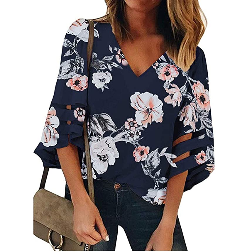 TIANMI Women's V Neck Mesh Panel Blouse 3/4 Bell Sleeve Casual Loose Top Shirt