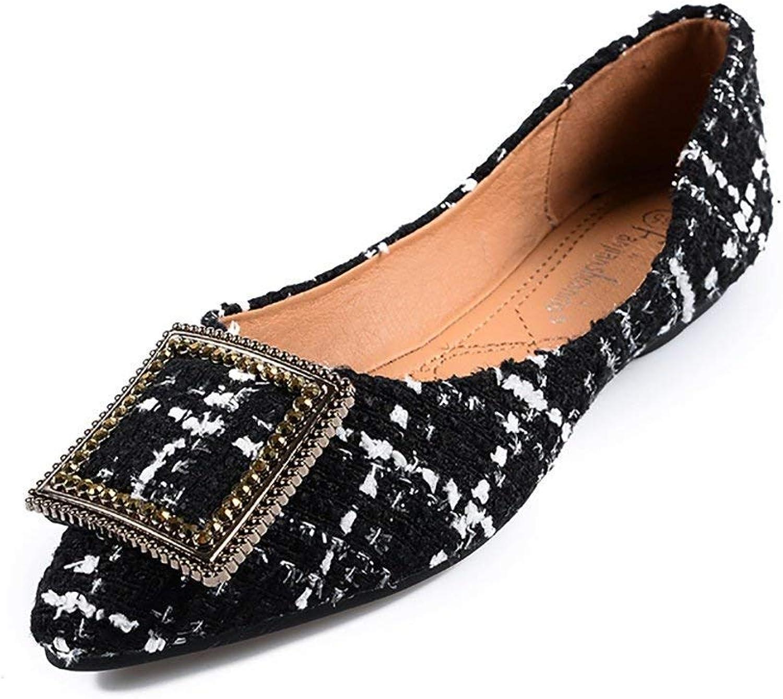 KAOKAOO Womens Classic Pointy Toe Ballet Flats Slip On Plaid Dress Flat shoes