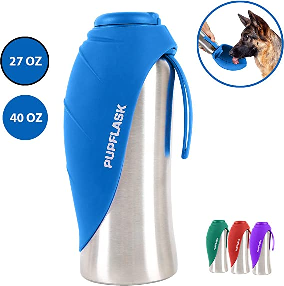 Tuff Pupper PupFlask Portable Water Bottle | 27 or 40 OZ Stainless Steel | Convenient Dog Travel Water Bottle Keeps Pup Hydrated | Portable Dog Water Bowl & Travel Water Bottle for Dogs