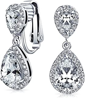 71e0506b4a36 Teardrop AAA CZ Halo Prom Dangle Drop Statement Clip On Earrings Cubic  Zirconia Silver 14K Gold