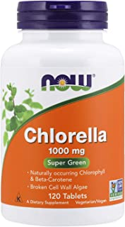 NOW Supplements, Chlorella 1000 mg with naturally occurring Chlorophyll, Beta-Carotene,..