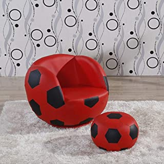 LONGren Lazy Couch Children's Football Chair Armchair Sofa and Stool Sport Theme (Color : A2)