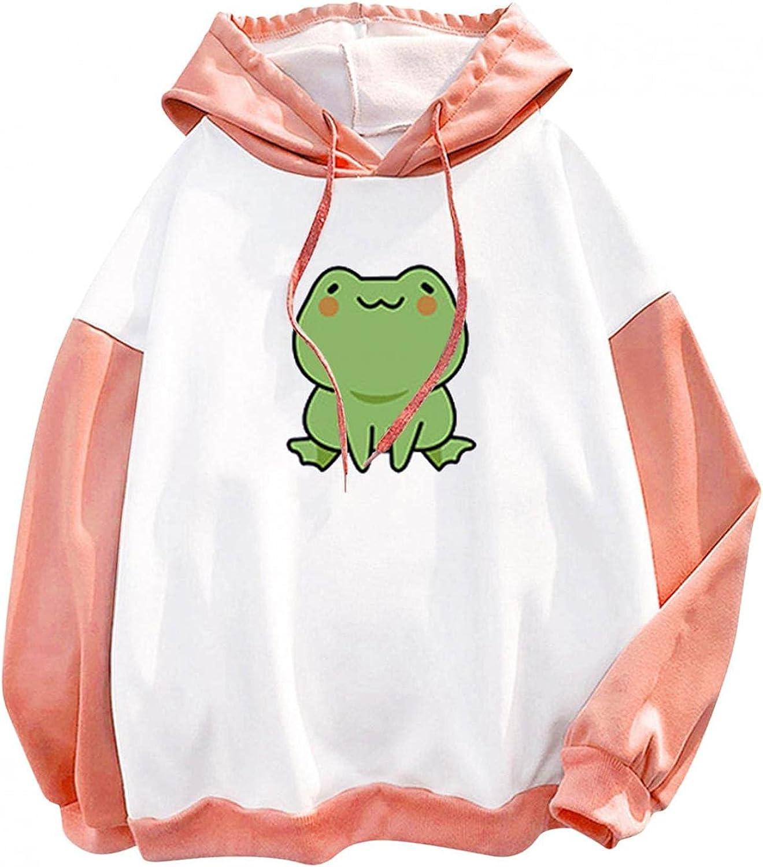 Oiumov Sweatshirts for Women Cute Frog Hoodie Casual Long Sleeve Cartoon Skateboard Pullover Jumper Hooded Tops Blouse