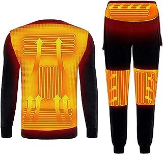 Yokbeer Electric Heating Thermal Underwear Set Rechargeable Heated Underwear Thermal Underwear Set Men's Winter Warm Fleec...