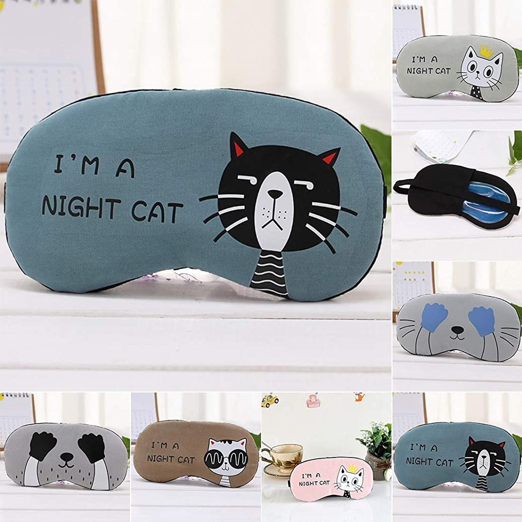 転送避難する中注意漫画猫シェーディング睡眠美容睡眠アイマスクソフトパッド入り睡眠旅行シェードカバー残りリラックス睡眠目隠しマスク