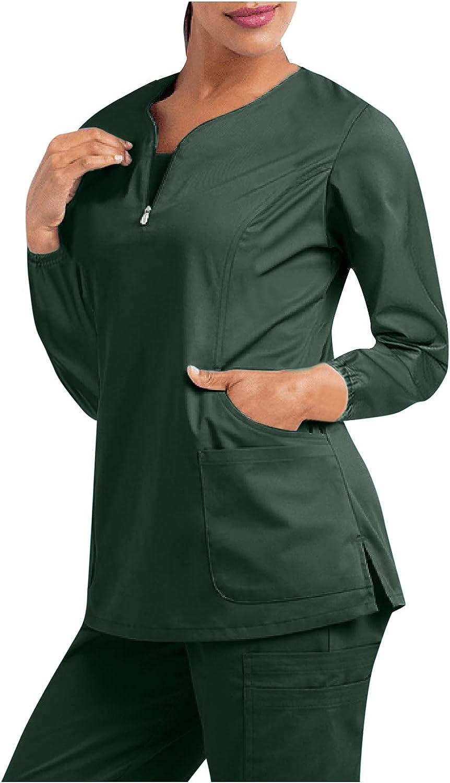 Women's Work Clothes Short Max 41% OFF Sleeve Care Zipper Pocket Popular popular V-Neck