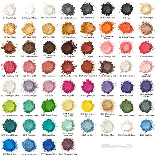 Arteza Mica Pulver für Epoxidharz, 60 Farben, Glimmerpulver in kosmetischer Qualität, 5ml Flasche zur Herstellung von Seife, Nagellack, Badebomben, Kerzen und Schleim