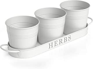 Barnyard Designs Herb Pot Planter Set with Tray for Indoor Garden or Outdoor Use, Decorative White Metal Succulent Potted ...