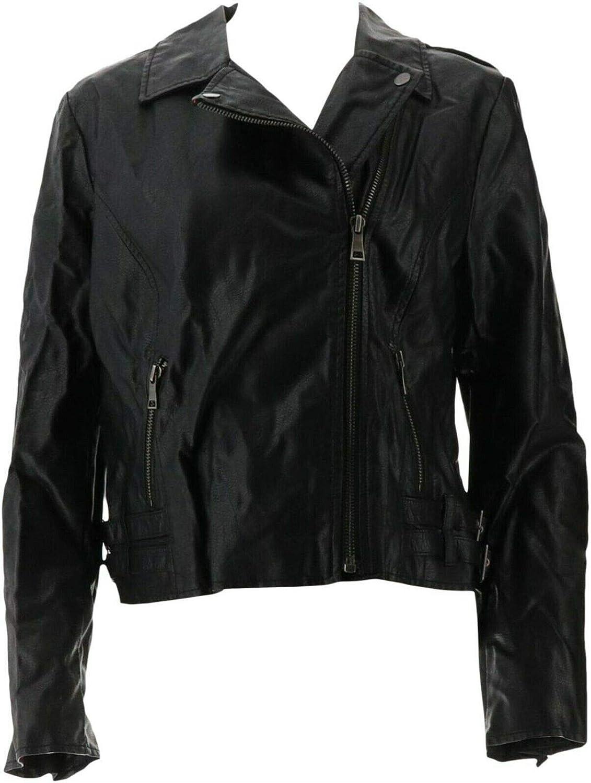GILI Faux Leather Double Side Buckle Moto Jacket Noir Black 0 NEW A287001