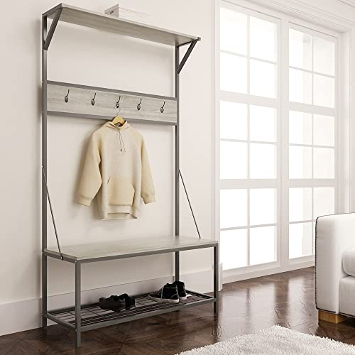 Entryway Bench With Coat Hooks Amazon Com