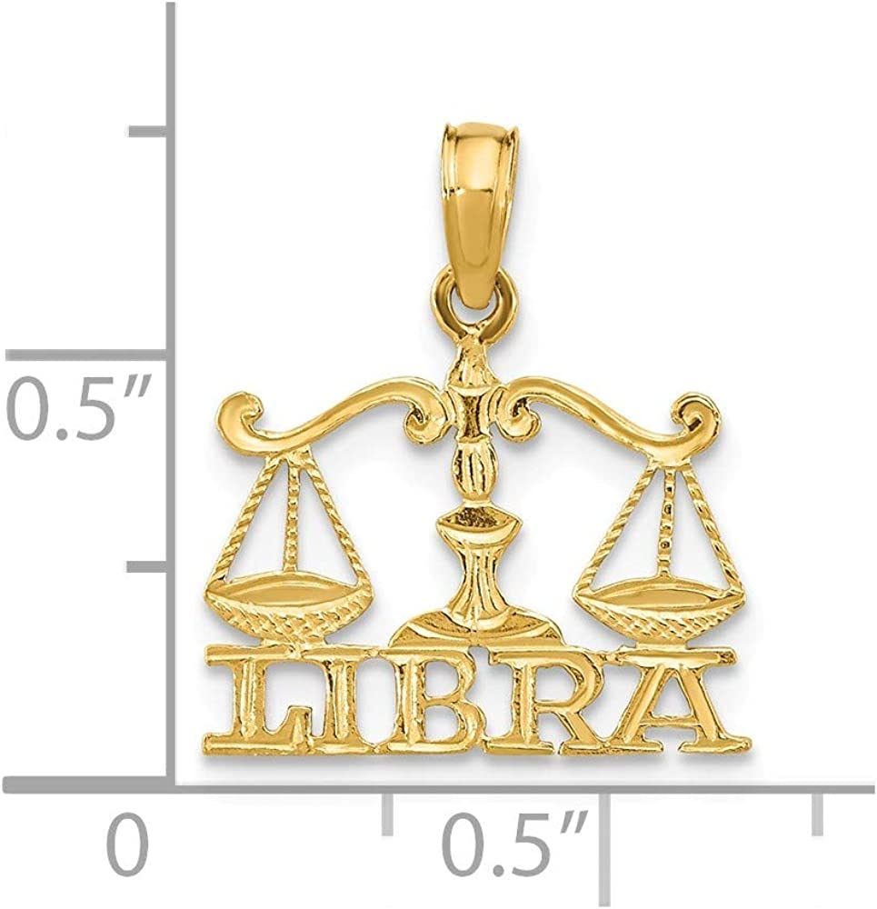 Solid 14k Yellow Gold Engraved Block Libra Charm Pendant - 18mm x 15mm