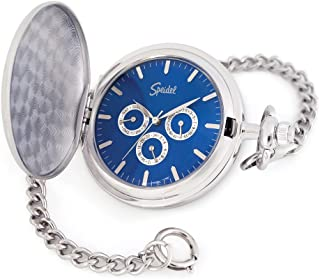 "Classic Smooth Pocket Watch with 14"" Chain Silver Tone with Blue Dial in Gift Box – Engravable"