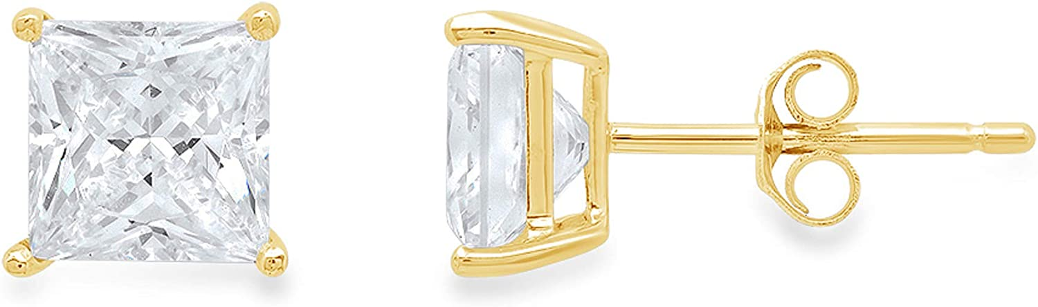 Clara Pucci 0.50 ct Brilliant Princess Cut Solitaire VVS1 Flawless White Lab Created Sapphire Gemstone Pair of Stud Earrings Solid 18K Yellow Gold Butterfly Push Back