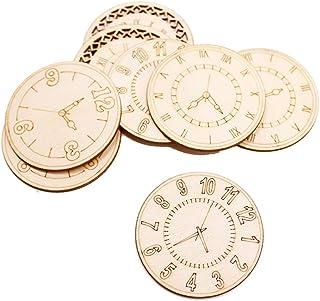 Amosfun Piezas de Madera del Reloj Natural de los Recortes de Madera sin terminar para Las Decoraciones del Arte de DIY 8 PC