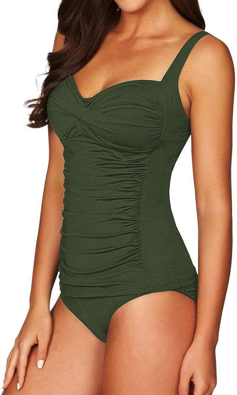 HAPCOPE Women's Ruched Tankini Set Swimsuit Tummy Control Bathing Suit