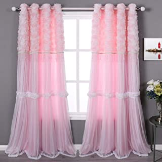 QSH Pink Rosette Curtains for Girls Bedroom Kids Window Curtains Panels with Beads Grommet Top Set of 2-52×95 Inches