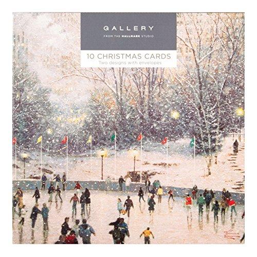 """Hallmark Gallerie Weihnachtskartenpack """"Schneemann und Tanne""""-10Karten, 2Designs; (in englischer Sprache) Verschneite Szenerie"""
