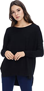 Womens Casual Oversized Crewneck Pullover Boyfriend Sweater Lightweight with Hi-Low