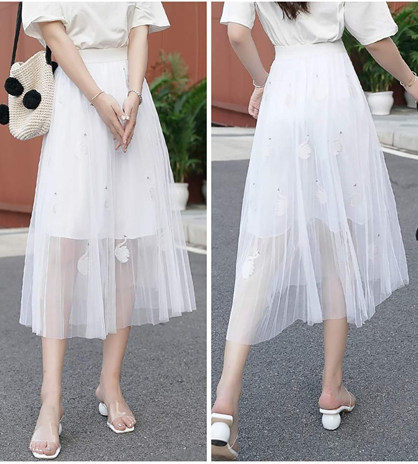 Embroidered Gauze Women's Skirt Spring and Summer Mesh Skirt XL New Pleated Temperament Long Fairy Skirt